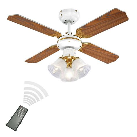 Remote Control White Brass Oak Effect Speed Ceiling