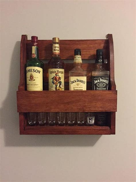 whiskey shelf  rowdyswoodshop  etsy whiskey rack