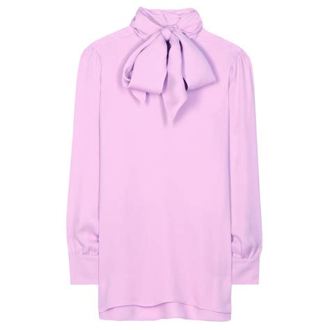gucci blouse gucci silk pussybow blouse in pink lyst