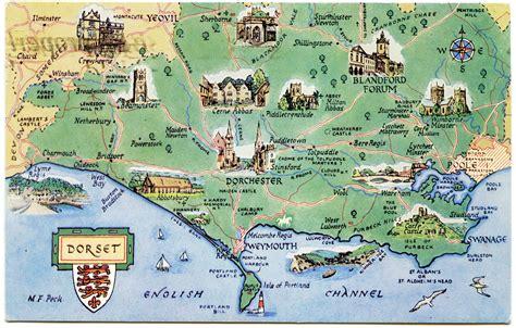 postcard map  dorset weymouth fc travel maps