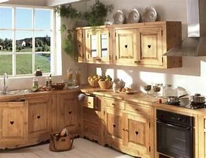 Meuble Cuisine Bois Naturel : meuble de cuisine bois brut le bois chez vous ~ Teatrodelosmanantiales.com Idées de Décoration