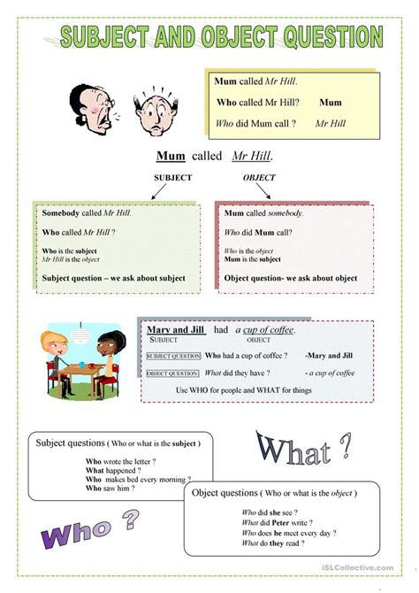 Subject And Object Questions Worksheet  Free Esl Printable Worksheets Made By Teachers