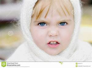 The Little Girl With An Angry Face Stock Image - Image of ...