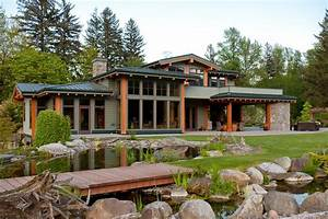 Rustic, Green, Home, Exterior, With, Stone, And, Wood, Accents