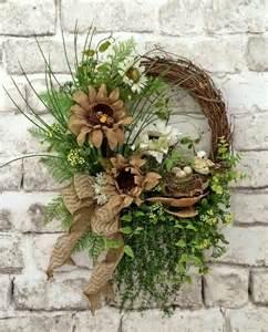 sunflower mesh wreath burlap summer wreath for door front door wreath sunflower