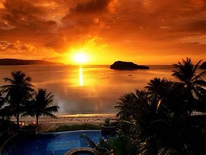 Sunrise Rising Sun Behind Sea Near