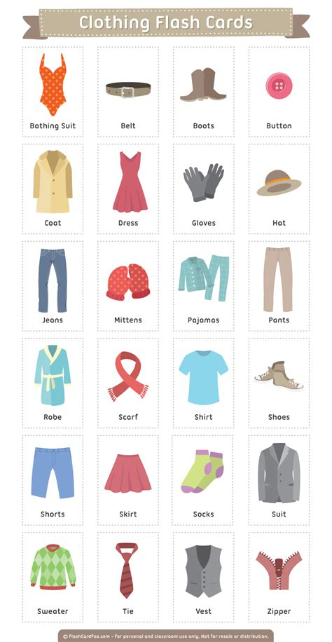 Free Printable Clothing Flash Cards Download Them In Pdf Format At Httpflashcardfoxcom