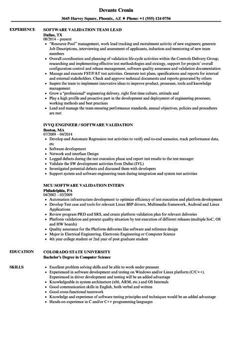 software validation resume sles velvet