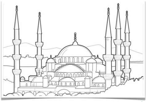 sketsa gambar masjid dan pemandangan retorika
