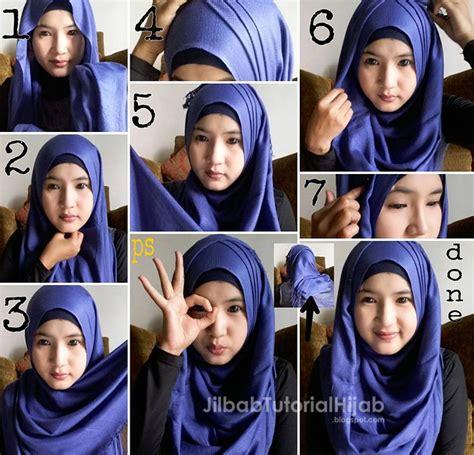 tutorial hijab pashmina  wajah bulat jilbab