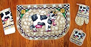 cow kitchen rug cow slicc rug kitchen pot holder towel set