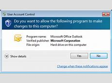 Allow Outlook to make changes to this computer