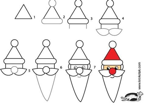 christmas pictures step by step krokotak how to draw santa