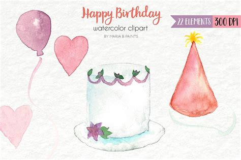 watercolor clip art happy birthday illustrations