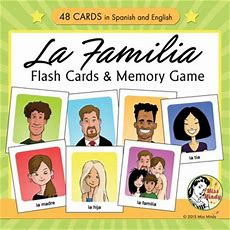 Spanish Family Flash Cards & Memory Game  La Familia By Miss Mindy