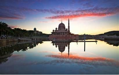 Sunrise Mosque Putrajaya Masjid Sky Seascape Reflection