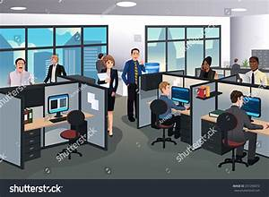 Vector Illustration People Working Office Stock Vector ...