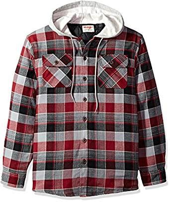 flannel shirt jacket with quilted lining wrangler s sleeve quilted lined flannel shirt