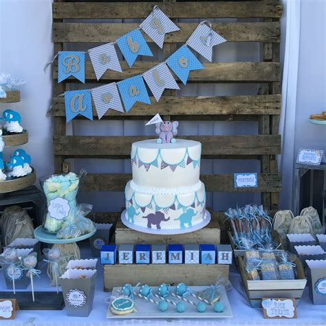 rustic blue  gray elephant baby shower theme nifty