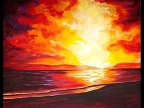 sunset   beach beginners acrylic step  step