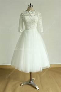 vintage tea length ivory tulle lace wedding dress with mid With mid length lace wedding dress