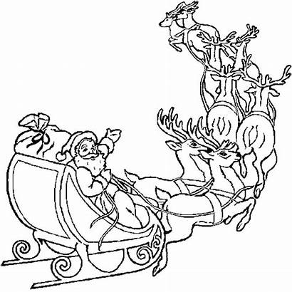 Santa Coloring Sleigh Reindeer Pages Claus Christmas