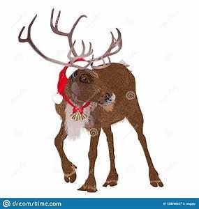 Deer, In, A, Funny, Santa, S, Red, Cap, Vector, Illustration, Stock, Illustration