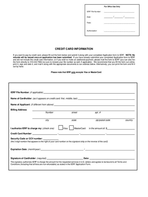 Credit Card Information Form - 2 Free Templates In Pdf