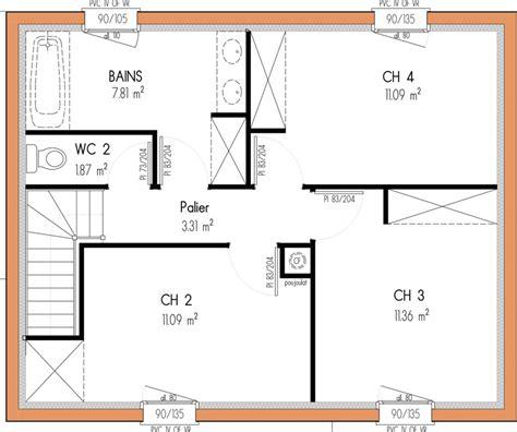 plan maison etage 4 chambres 1 bureau plan maison 4 chambres 1 etage