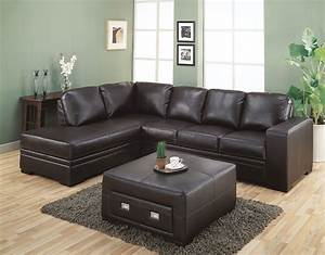 L shaped brown leather sectional sofa with right chaise for Coffee table for a sectional sofa