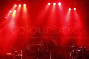 Red stage light at outdoor concert | Stock Photo | Colourbox