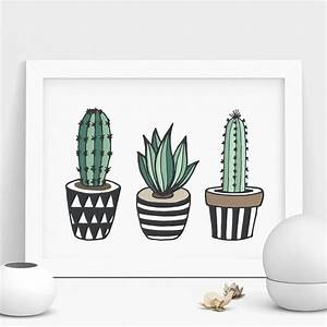 cactus print illustrated set by the motivated type