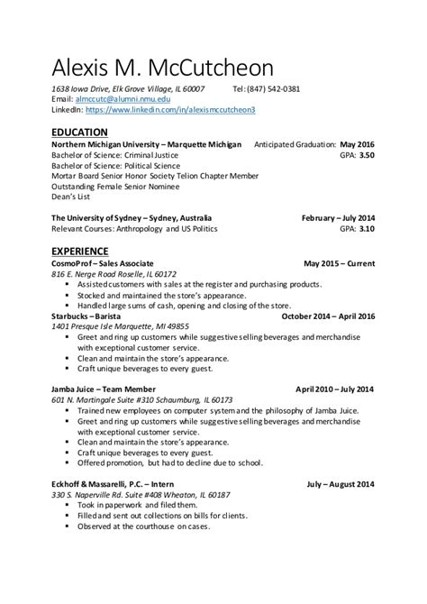 Exle Of Complete Resume by Completed Resume