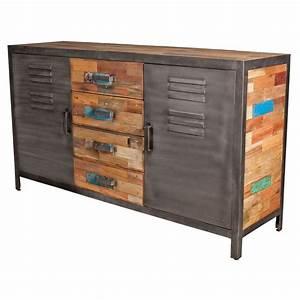 Buffet Haut Industriel : buffet 2 portes 4 tiroirs bois fer fabrik n 1 univers ~ Teatrodelosmanantiales.com Idées de Décoration