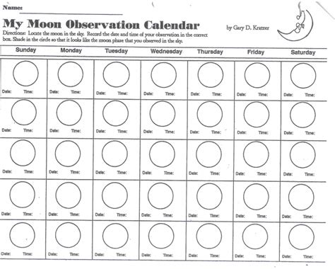 Moon Phase Calendar Worksheet Free Calendar Template
