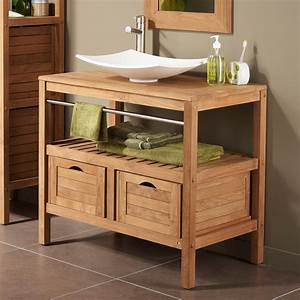 Meuble sous vasque avec plan 2 tiroirs sdb chalet for Salle de bain design avec castorama lavabo a poser