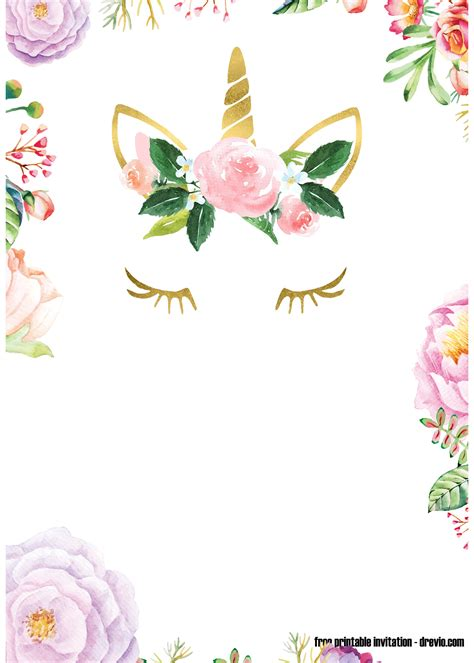 printable floral unicorn invitation template bagvania