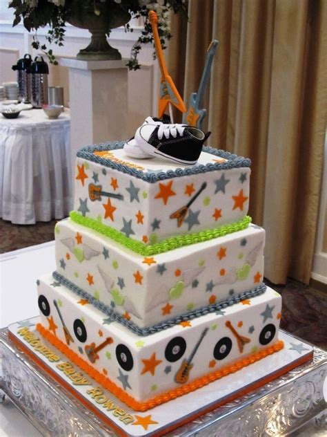 square baby shower cakes baby shower cake square ideas rock n roll baby shower