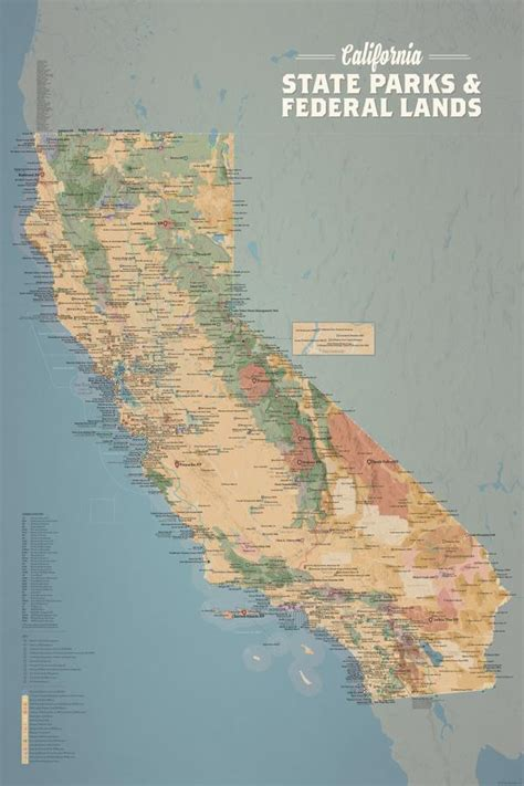 california state parks federal lands map  poster