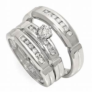 luxurious trio marriage rings half carat round cut diamond With wedding ring trio sets for him and her