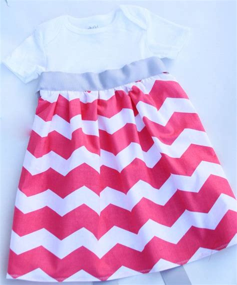 hot pink chevron onesie dress  ribbon sash