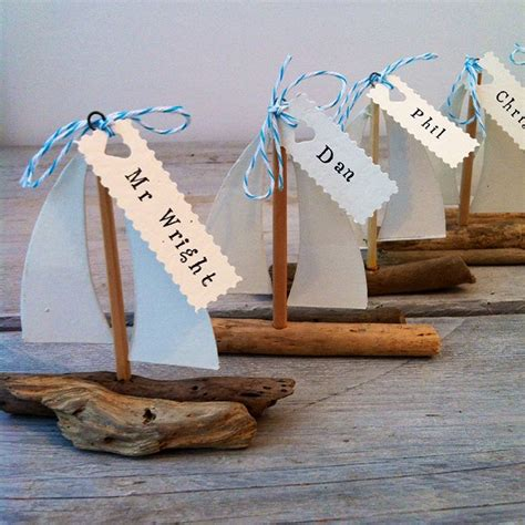 Driftwood Boat Wedding Favoursplace Names Handmade By