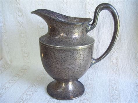 Antique Old W B Mfg Co Silver Plated Pitcher Water Jug 9