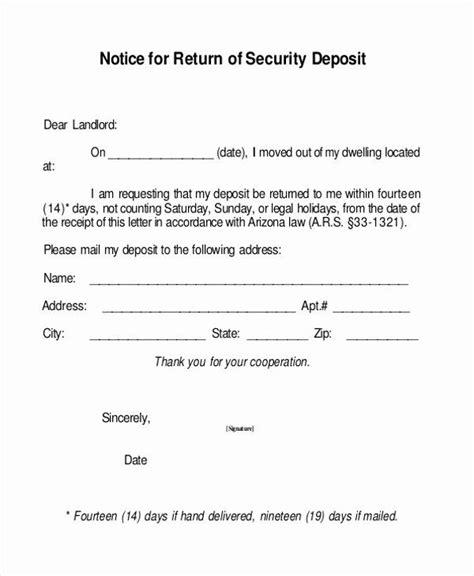 security deposit return form template