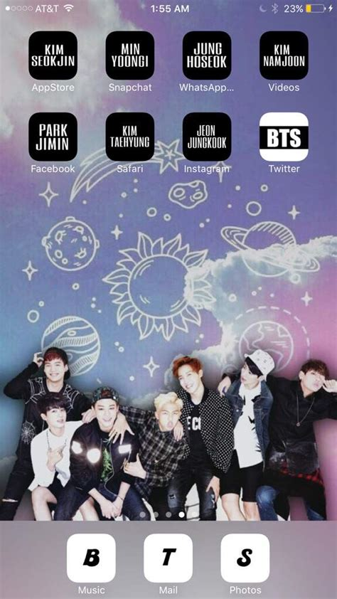 Iphone Home Screen Wallpaper Bts by How To Make A Bts Inspired Home Screen Army S Amino