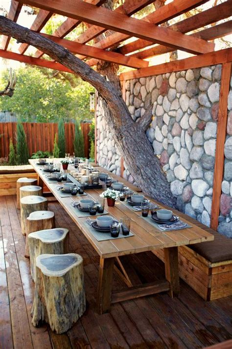 ingenious projects  turn wood logs  outdoor furniture