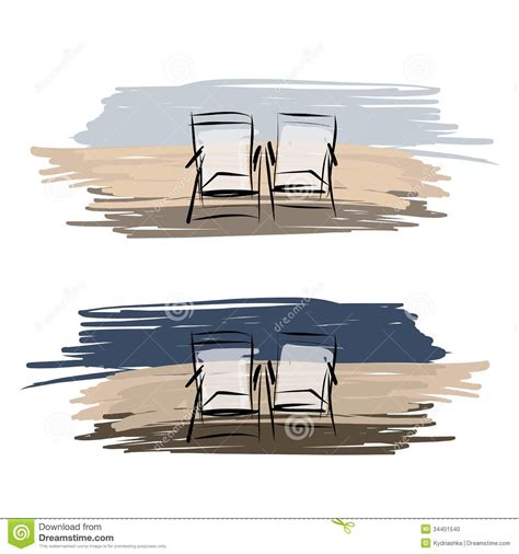 deux chaises de plate forme sur la plage croquis pour le votre photo stock image 34451540