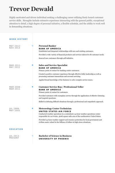 Banquier Personnel Des échantillons De Cv  Visualcv Cv