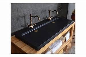 140x50 double vasques en granit noir haut de gamme love With salle de bain design avec evier pierre à poser