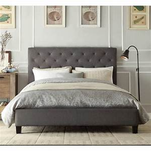 Chester King Padded Linen Fabric Bed Frame in Grey Buy